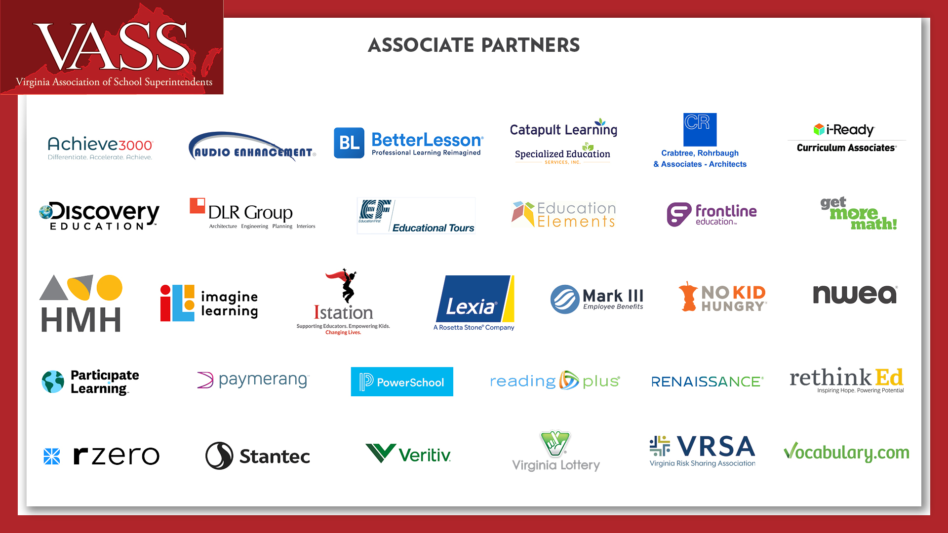VASS Thanks Our Associate Partners For Their Generous Support